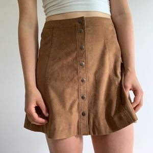 FAUX SUEDE RETRO BROWN A-LINE SKIRT